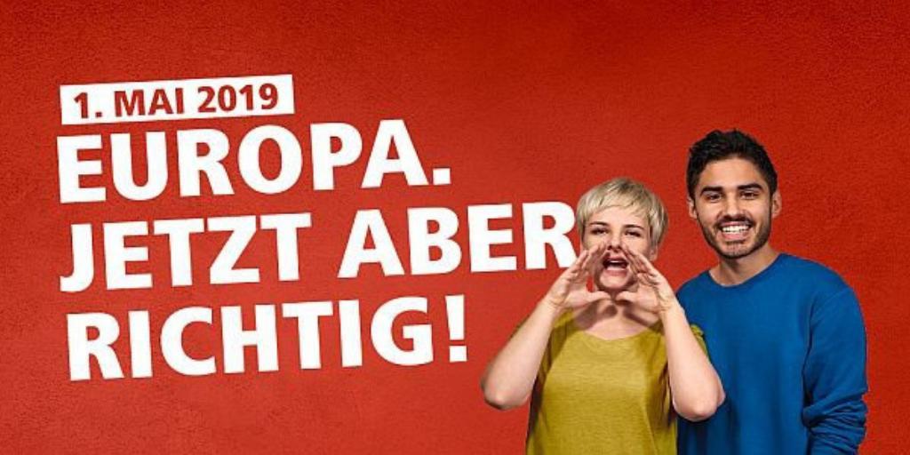 +++ Hinaus zum 1. Mai! Für ein solidarisches & gerechtes Europa! +++ #DGB-Mai-Demonstrationen in deiner Nähe: 🔹 Berlin https://bit.ly/2v7jpFp 🔹 Hamburg https://bit.ly/2ZeRrVX 🔹 München https://bit.ly/2GfOWdo 🔹 Köln https://bit.ly/2Zg6AGo #EuropaUndDu @dgb_news #1mai2019