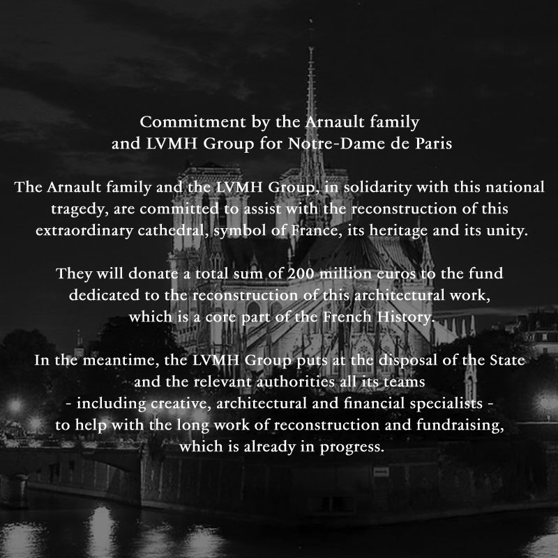 c9741b7ac0a rebuilding the extraordinary notre dame cathedral is proud to announce that  the arnault family and the