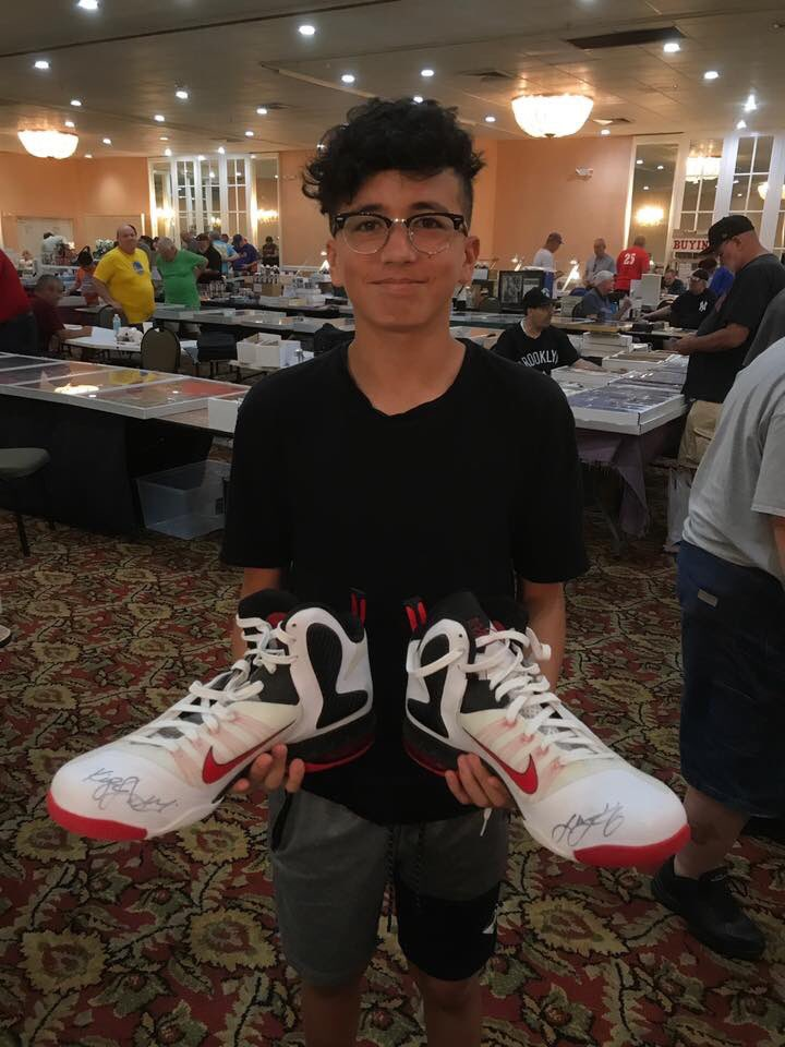 "A pair of @KingJames @Nike Sportswear sneakers inscribed ""King James"" submitted last Saturday at the monthly South Florida Sports Card Show! This event is growing fast. We're coming back May 10th and 11th. #JSAauthenticated #JSALOA #KingJames"