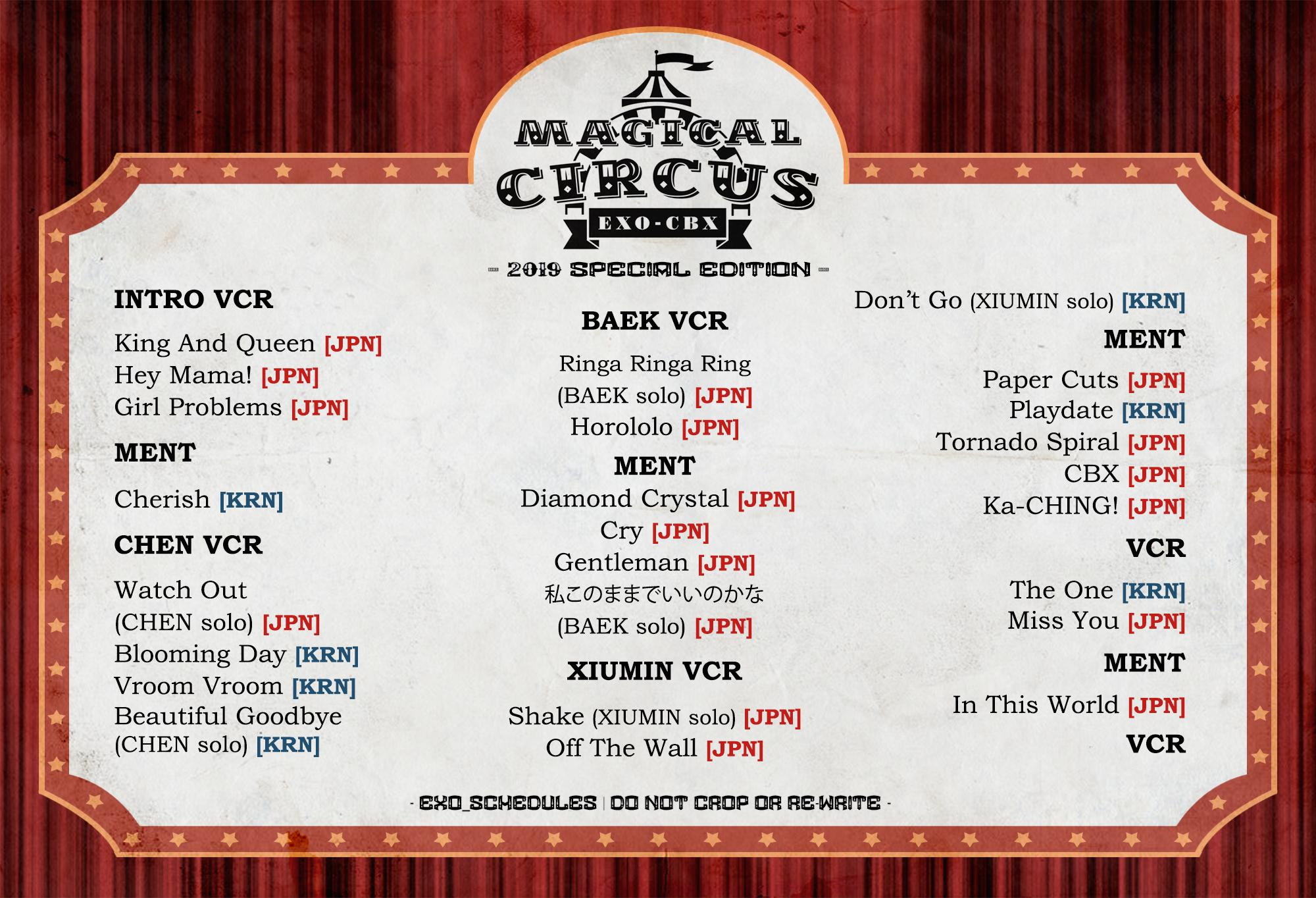 Exo Schedule On Twitter Exo Cbx Magical Circus Tour 2019 Special Edition Set List Based On Saitama D1 Cbx Magicalcircus 2019 Specialedition Exo Cbx Exo Cbx Weareoneexo Https T Co Xzzyjbbzzr