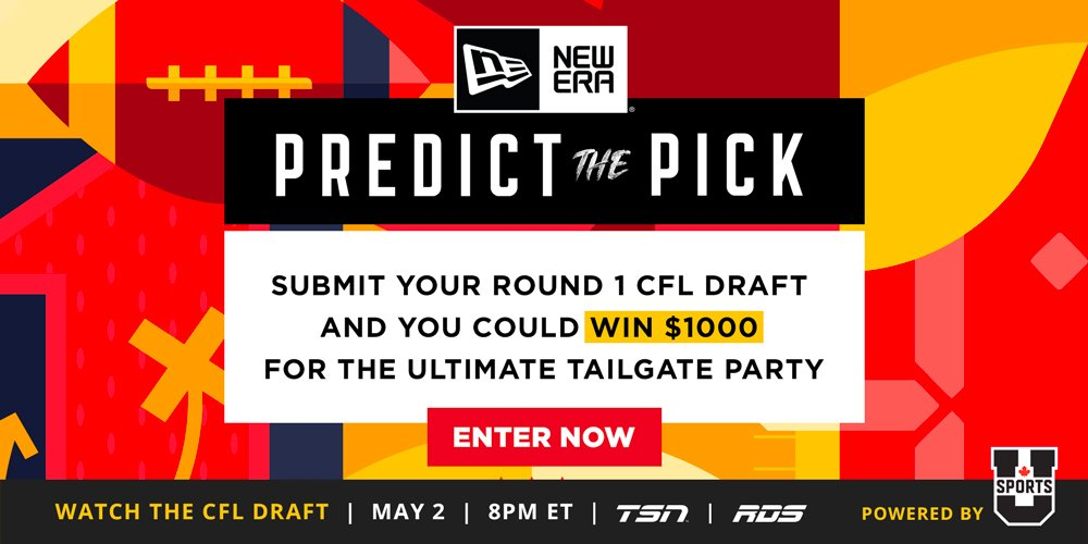 "Ready to show off that 🏈 knowledge?  ""@NewEraCanada Predict the Pick"" powered by @USPORTSca wants you to tell us the first 8 picks of the 2019 #CFLDraft   #CFL fans, you're on the clock 