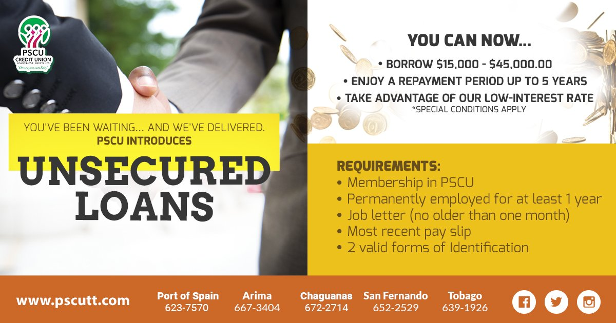 #PSCU Unsecured Loan - borrow up to $40,000 and enjoy a payback period of up to 5 years.   Contact your nearest branch for more information. #OnUsYouCanRely