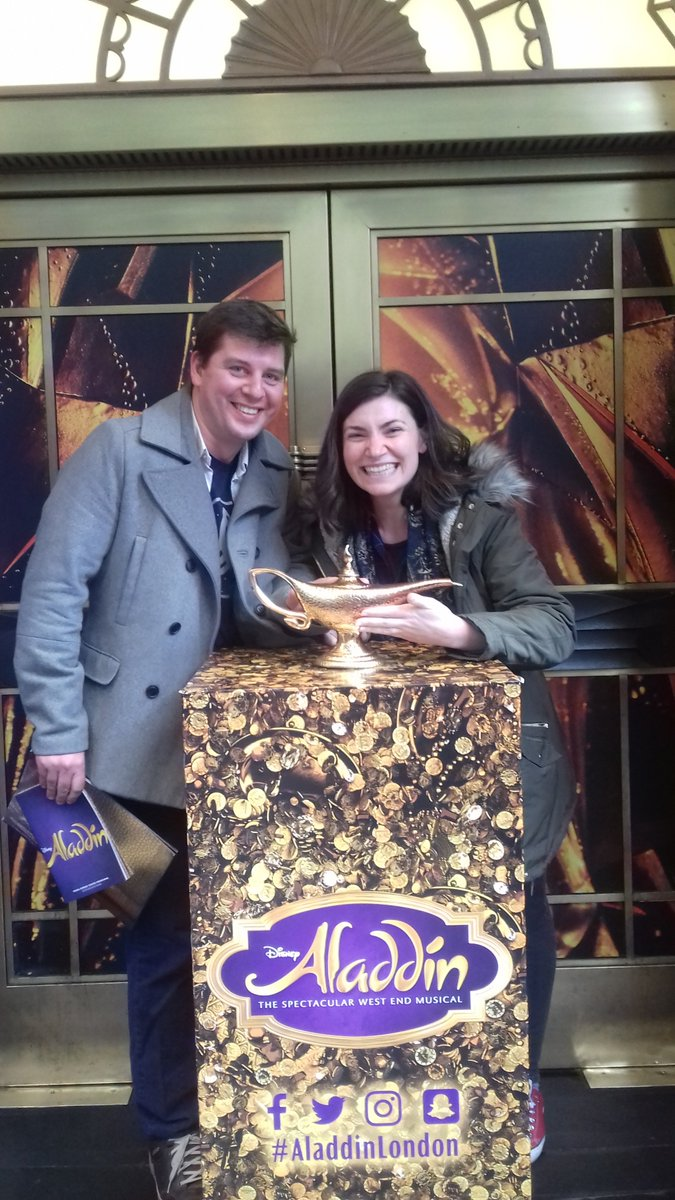 What better way to celebrate our 7th wedding anniversary then with a bit of #theatre magic @AladdinLondon was brilliant fun particularly @astonishingtrev who was just hilarious as the #Genie <br>http://pic.twitter.com/CrzbDLpAPa