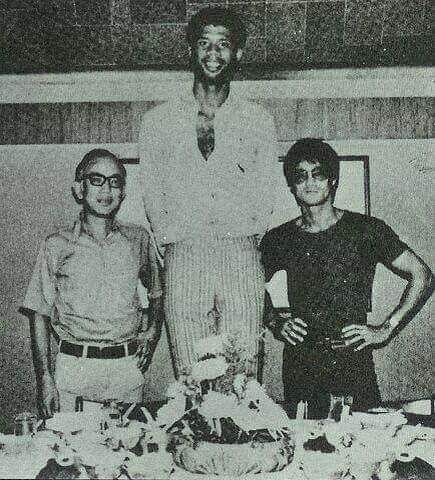Happy birthday Kareem Abdul Jabbar with Bruce Lee and Raymond Chow on the set of Game of Death
