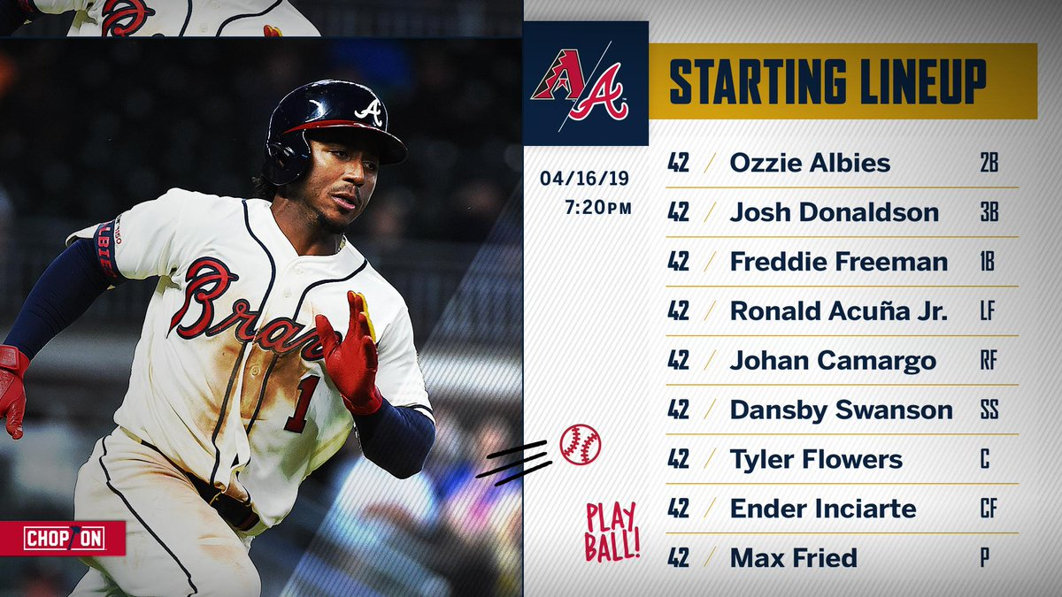 Tonight's #Braves lineup as we celebrate the life and legacy of Jackie Robinson.  #Jackie42 <br>http://pic.twitter.com/WR7NKVzWsQ