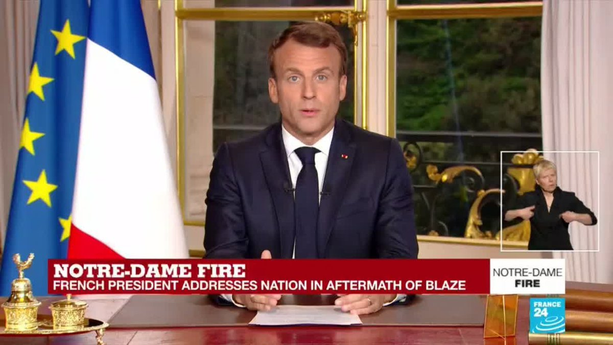 【速報】仏マクロン大統領「ノートルダム寺院を5年で再建したい」