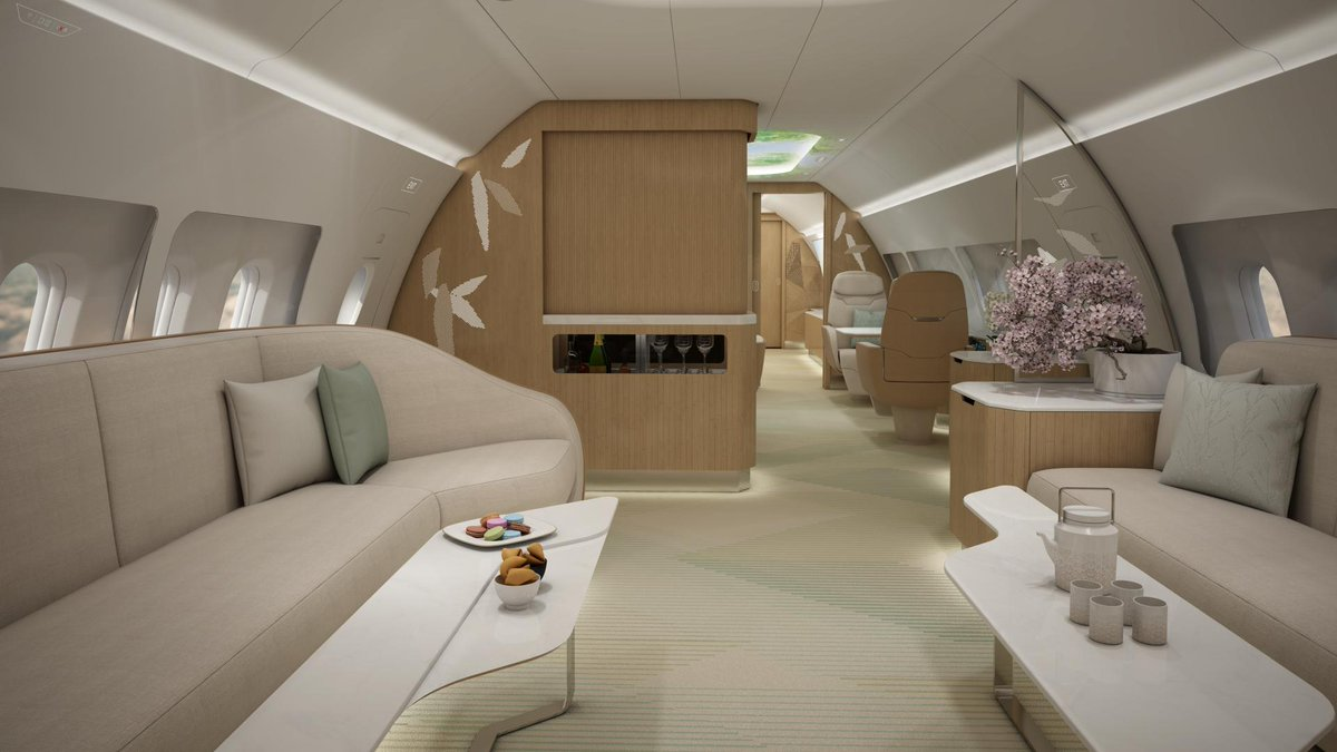 East meets West in our new VIP cabin: Enjoy the beauty of nature on board you @Airbus ACJ! READ MORE: https://bit.ly/2XaBwWK #PaxEx #VIPcabin #A320
