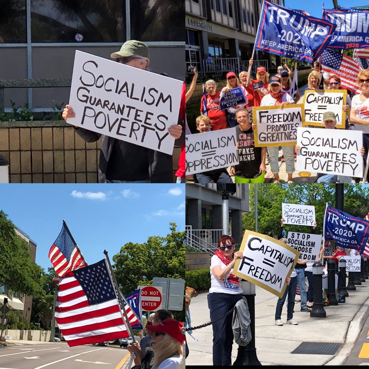 #TeaParty activists in Pinellas County, Florida took to the streets to support @realDonaldTrump and stand against #Socialism.  #StopSocialismChooseFreedom #TeaParty10 <br>http://pic.twitter.com/C6qVMBjJBm