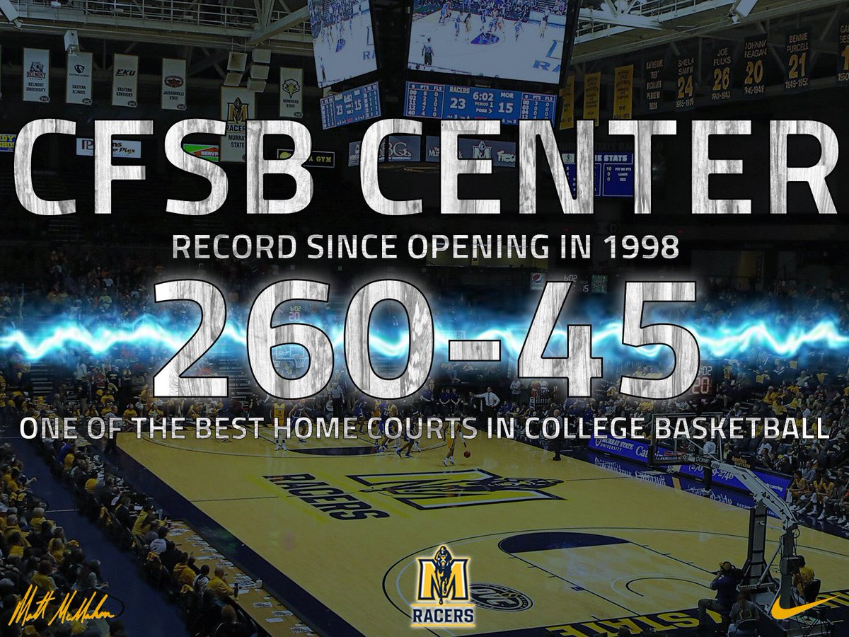 In the CFSB Center's history, the Murray State Racers have a record of 260-45 at home (85.2% winning percentage). Thank you Racer Nation! #RacerTradition