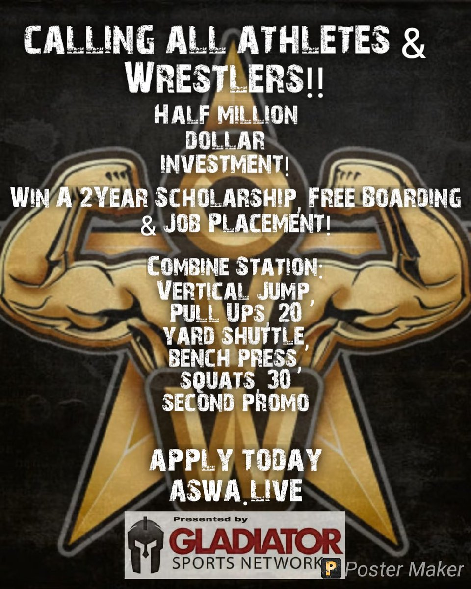 Do you want to be a professional wrestler? Well here is your opportunity to get a 2year scholarship with free boarding and we will even set you up with a job!  This is for all levels of athletes. Dont miss a chance of a lifetime!