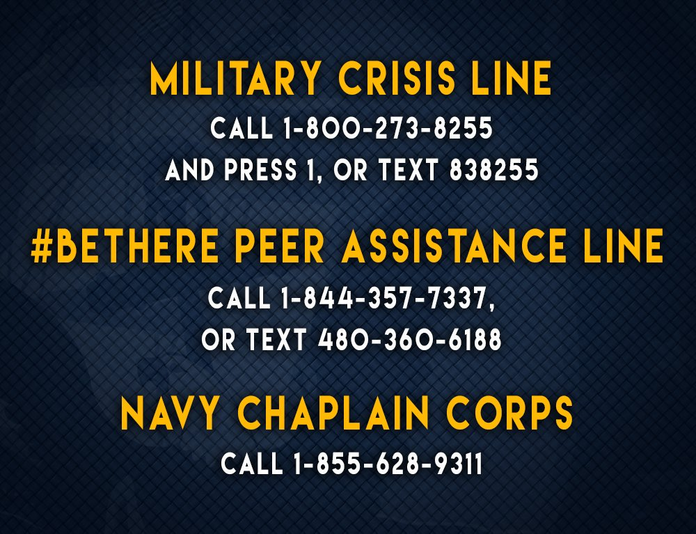 #USNavy life can be challenging. On this #StressAwarenessDay, remember that no one is immune from stress, but help is always available. Call 1-800-273-8255 and press 1, or text 838255. See below for more resources.
