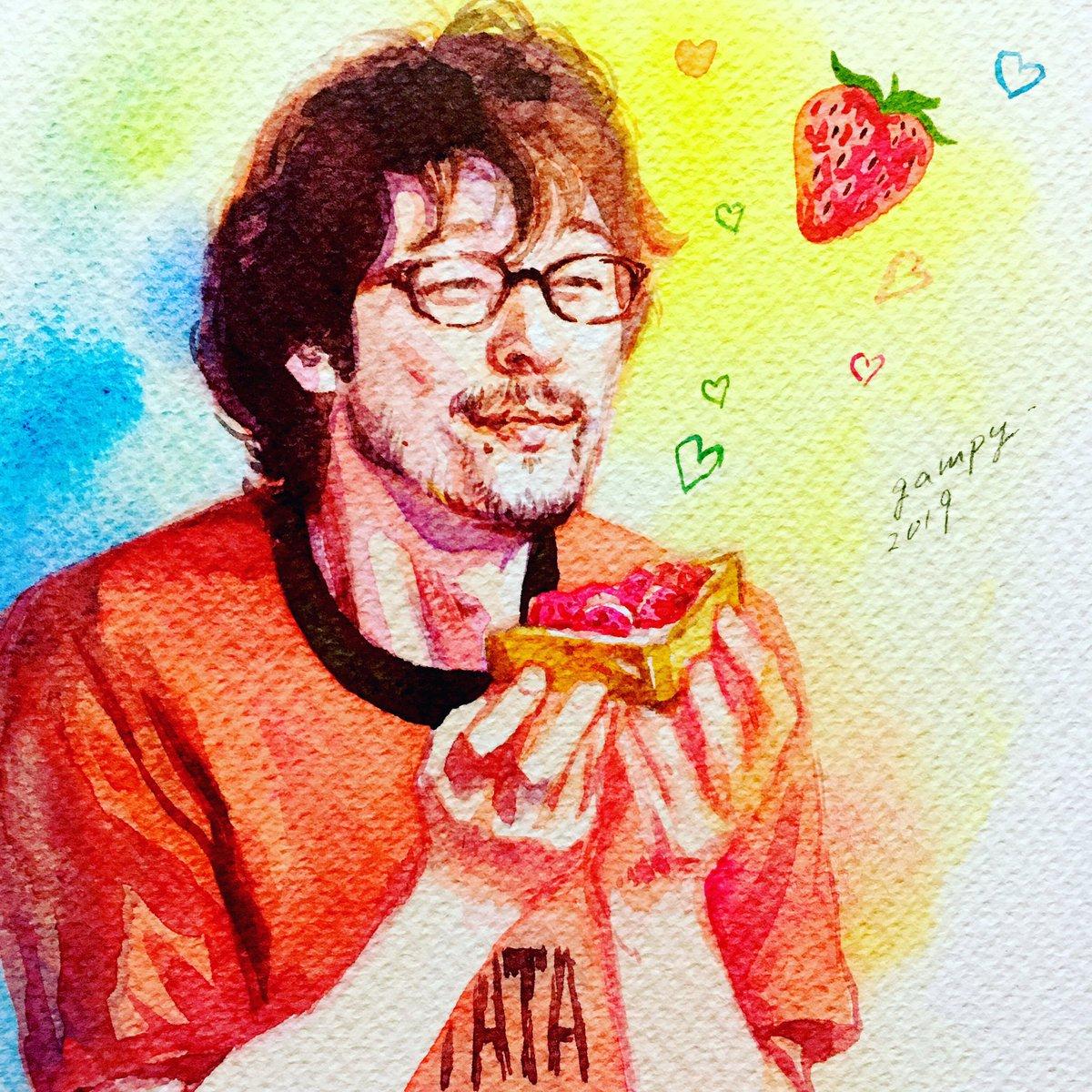 シロさんが作ってくれた甘酸っぱい苺ジャムのトースト。幸せそうなケンジ(内野聖陽さん)を描いてみました🍓#きのう何食べた #watercolor
