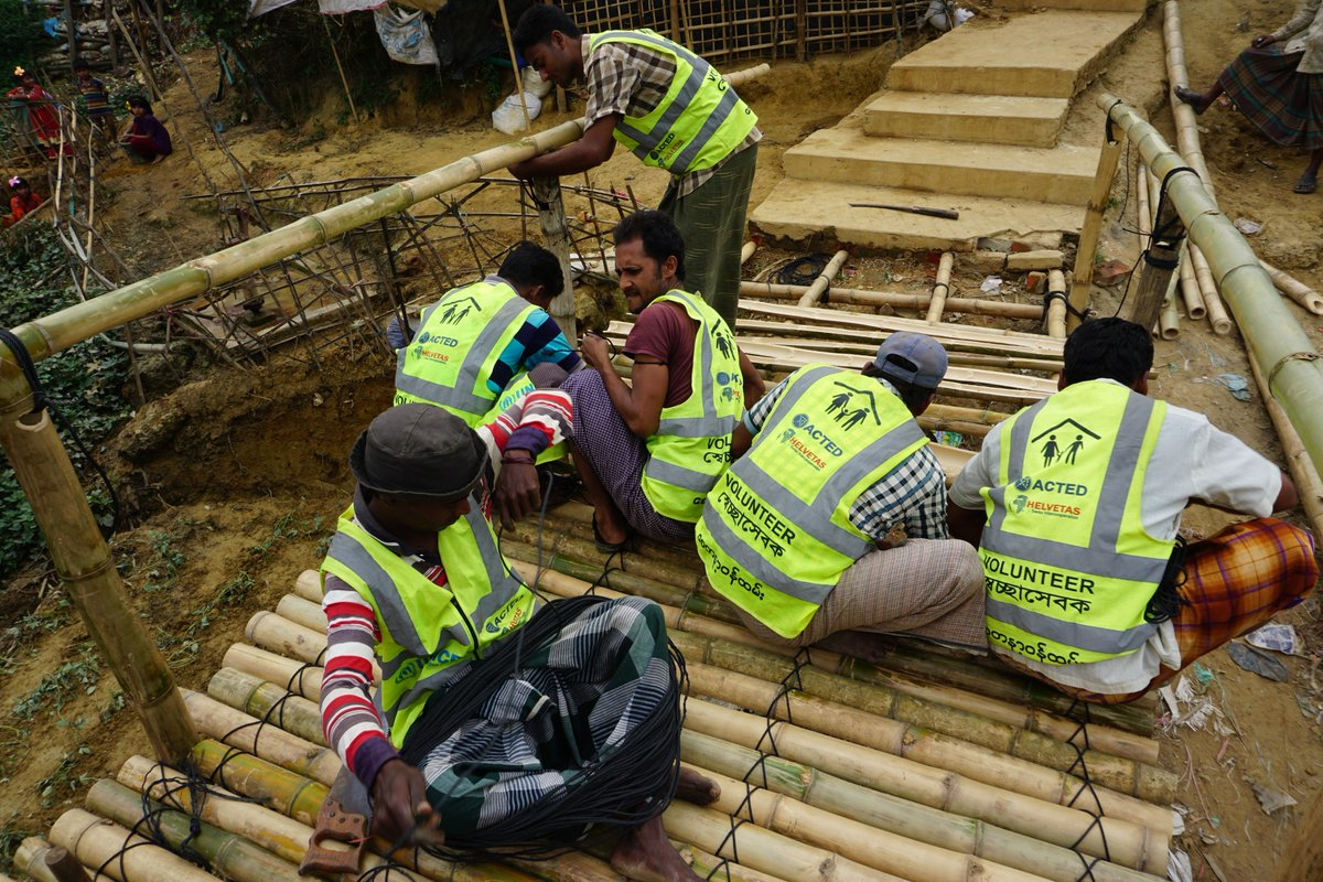 In #Bangladesh, ACTED oversees site maintenance and upkeep activities for refugees in Cox's Bazar. In this photo, a team of #Rohingya volunteers upgrades a bamboo bridge in anticipation of the coming #monsoon season.