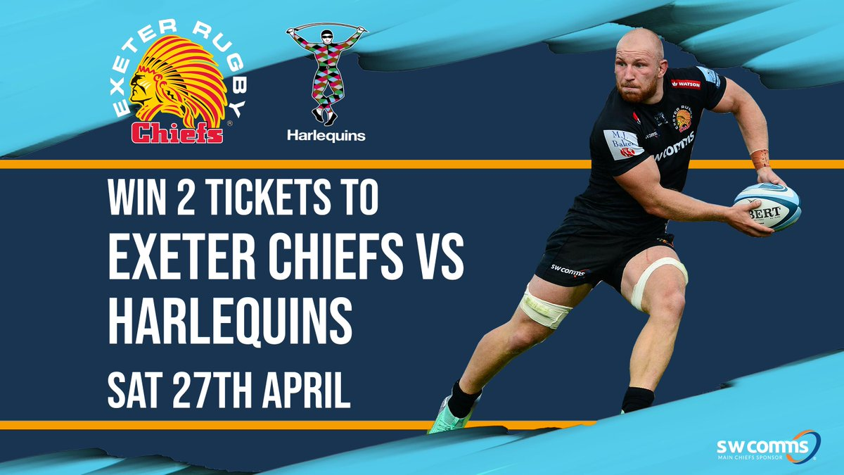 🏉 Here's your chance to win two tickets in the @Southwestcomms stand for @ExeterChiefs vs @Harlequins on Saturday 27th April at @sandyparkexeter ! All you need to do is FOLLOW @ExeterChiefs on Twitter and RETWEET the post! The winner will be chosen on Thursday, 25th April 🏆