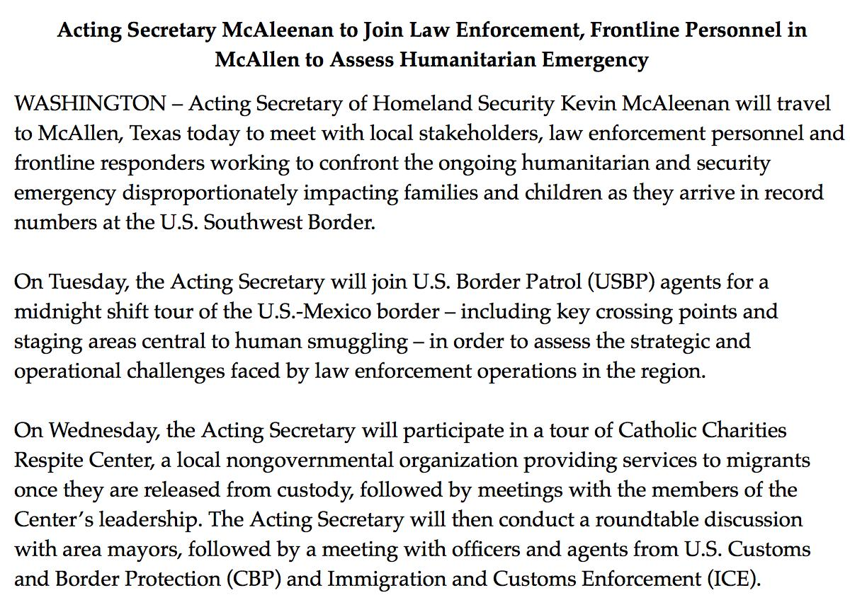 "The McAleenan era at DHS begins with a tour of the border, including a midnight shift, and the label ""humanitarian emergency"""