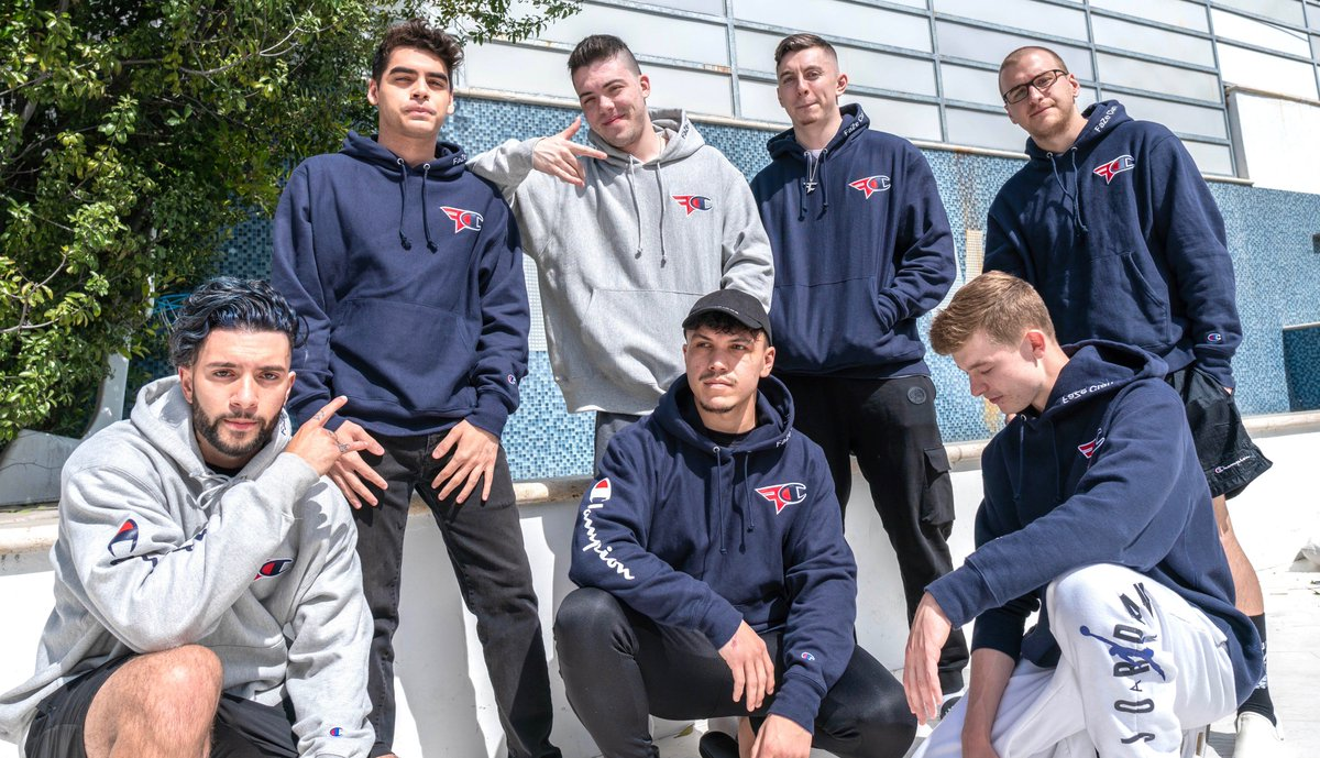 FaZe Clan by @ChampionUSA, Round 2, is now live for sale  In Heather Grey & Navy Blue, with cropped girls hoodies available  Act fast. http://fazeclan.com  http://fazeclan.com  http://fazeclan.com