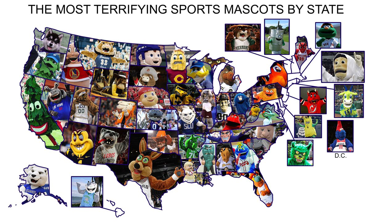 The most terrifying mascots in the #SportsBiz by state.   Agree? Disagree? Discuss.