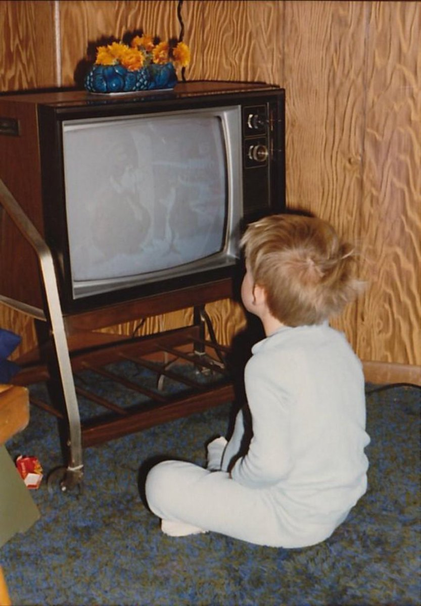 This kid is now blind because he sat too close to the TV.  Sincerely,  Every 70s Mom
