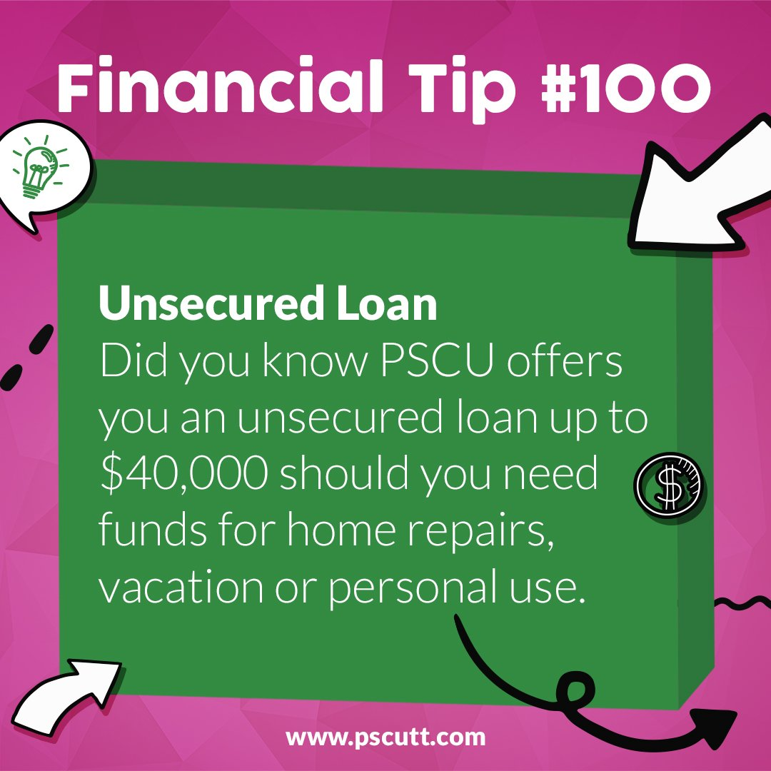 #FinancialTipTuesday: Did you know that #PSCU offers an Unsecured Loan up to $40,000?  Contact your nearest branch for more information. #OnUsYouCanRely