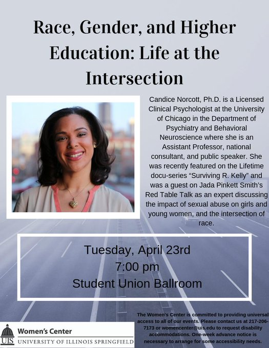 RT @UISWomensCenter: Join us Tues, April 23rd for Race, Gender, and Higher Education: Life at the Intersection a talk by Dr. Candice Norcot…