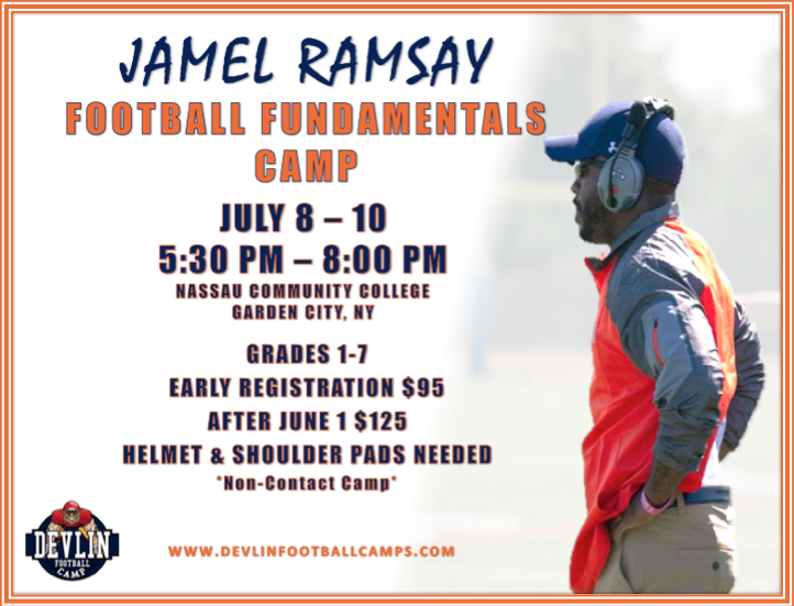HEAD COACH @jamelramsay YOUTH FOOTBALL CAMP  SPECIAL PROMO: ENTER &quot;blitz&quot; at checkout for $10 off before Friday.  Come get coached up and see what it is like to hunt with the    #ONE9PRIDE<br>http://pic.twitter.com/exPDje99lL