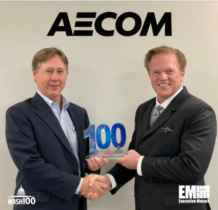 Our CEO @jimgarrettson presented John Vollmer of @AECOM with his 2019 #Wash100 Award! Visit http://wash100.com to vote for your favorite executive and view the full list! #govcon #govconwire #vote #wash100 http://lnkd.in/eMNh8eJ