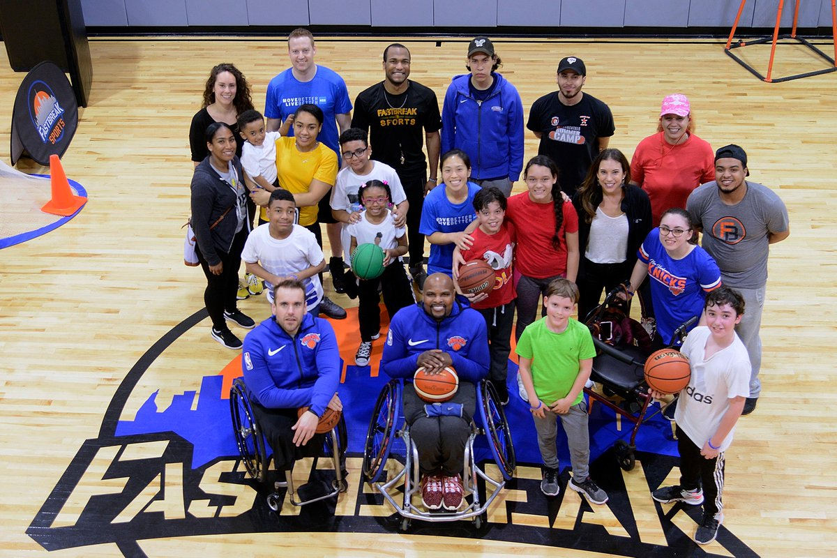 Through the Adaptive Sports Academy at the HSS Lerner Children's Pavilion, our pediatric patients had an exciting time at @FastBreakKids this past weekend where they participated in #basketball activities wit the New York Rollin' Knicks of the @NWBA! #HSSKids