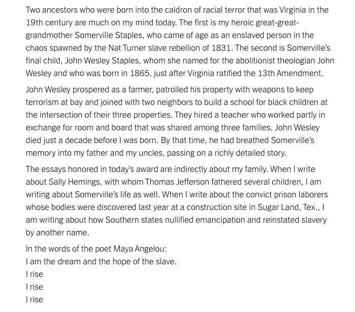 Beautiful, moving remarks from @BrentNYT on his 2019 #Pulitzer for Editorial Writing: https://www.nytco.com/press/2019-pulitzer-prize-remarks-from-brent-staples/…