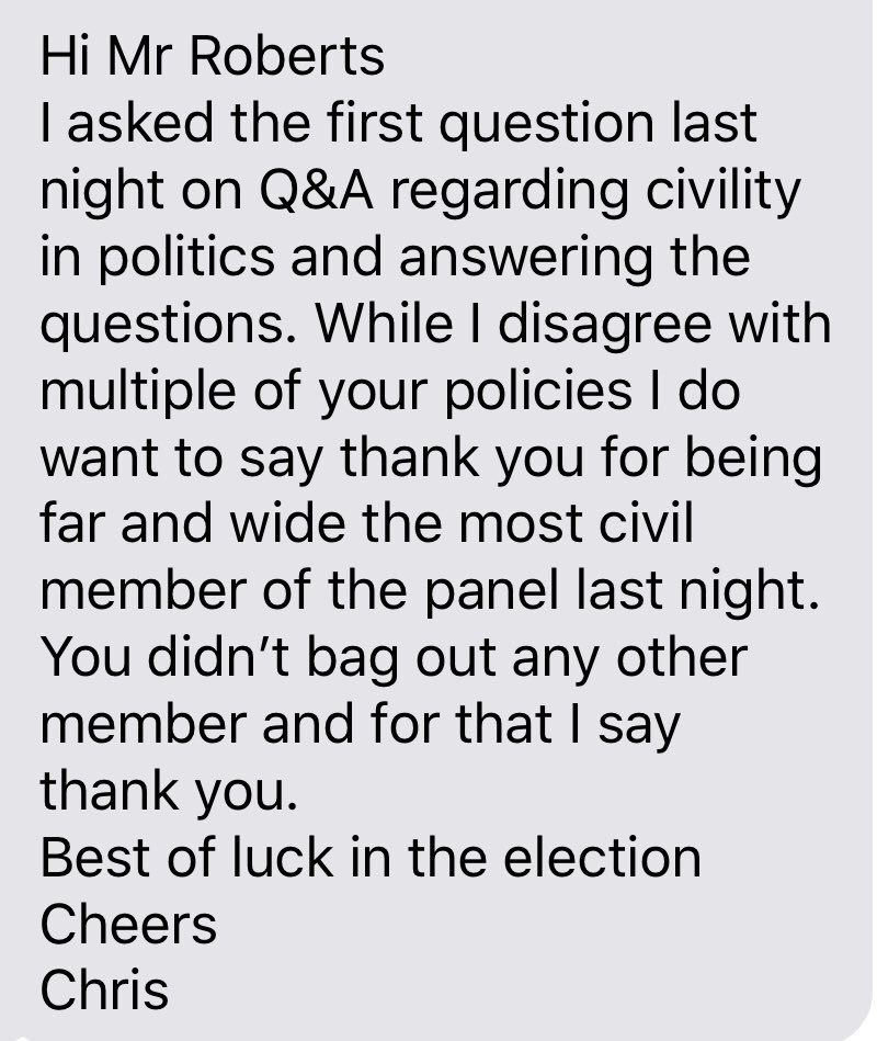 The first question on #QandA on Monday night was from Chris asking for a respectful discussion and more civility in politics.  After the show Chris sent me this message.   I wholeheartedly agree with Chris, shame the host didn't take his message on board. <br>http://pic.twitter.com/TaAgceVjPM