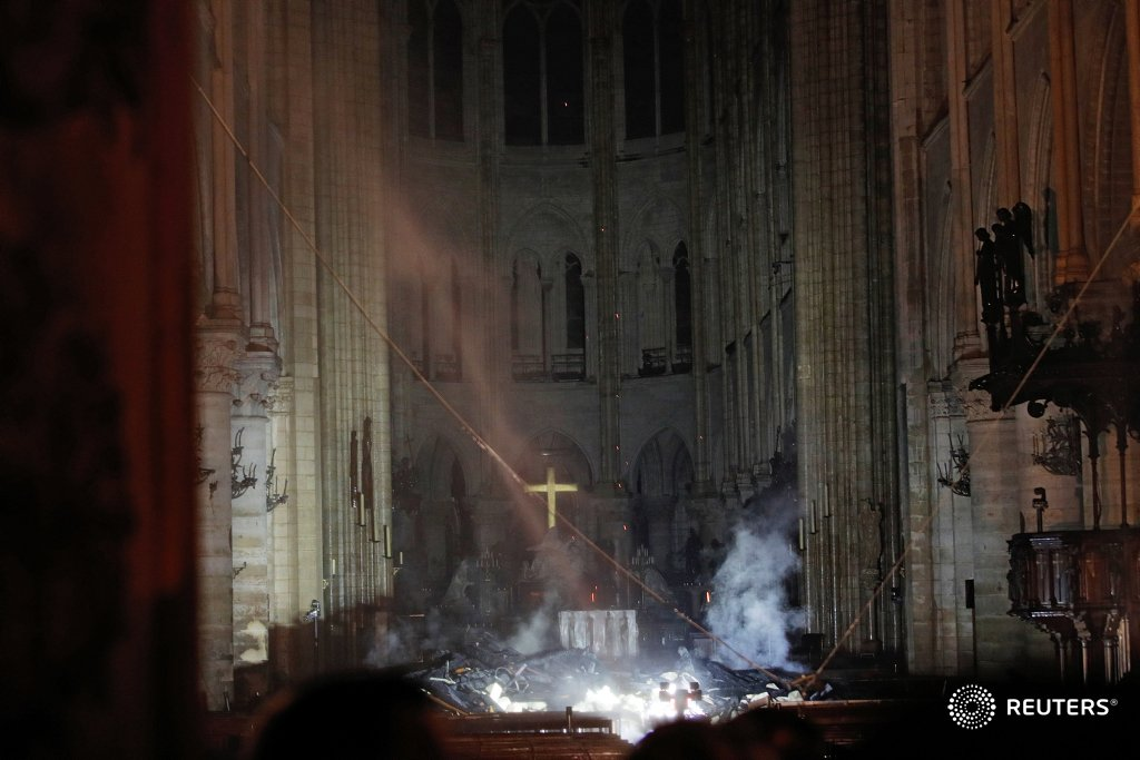 #ReutersBackstory: How photographer Philippe Wojazer captured the eerie image of a lit cross above the altar of Notre-Dame Cathedral https://reut.rs/2GimjvX