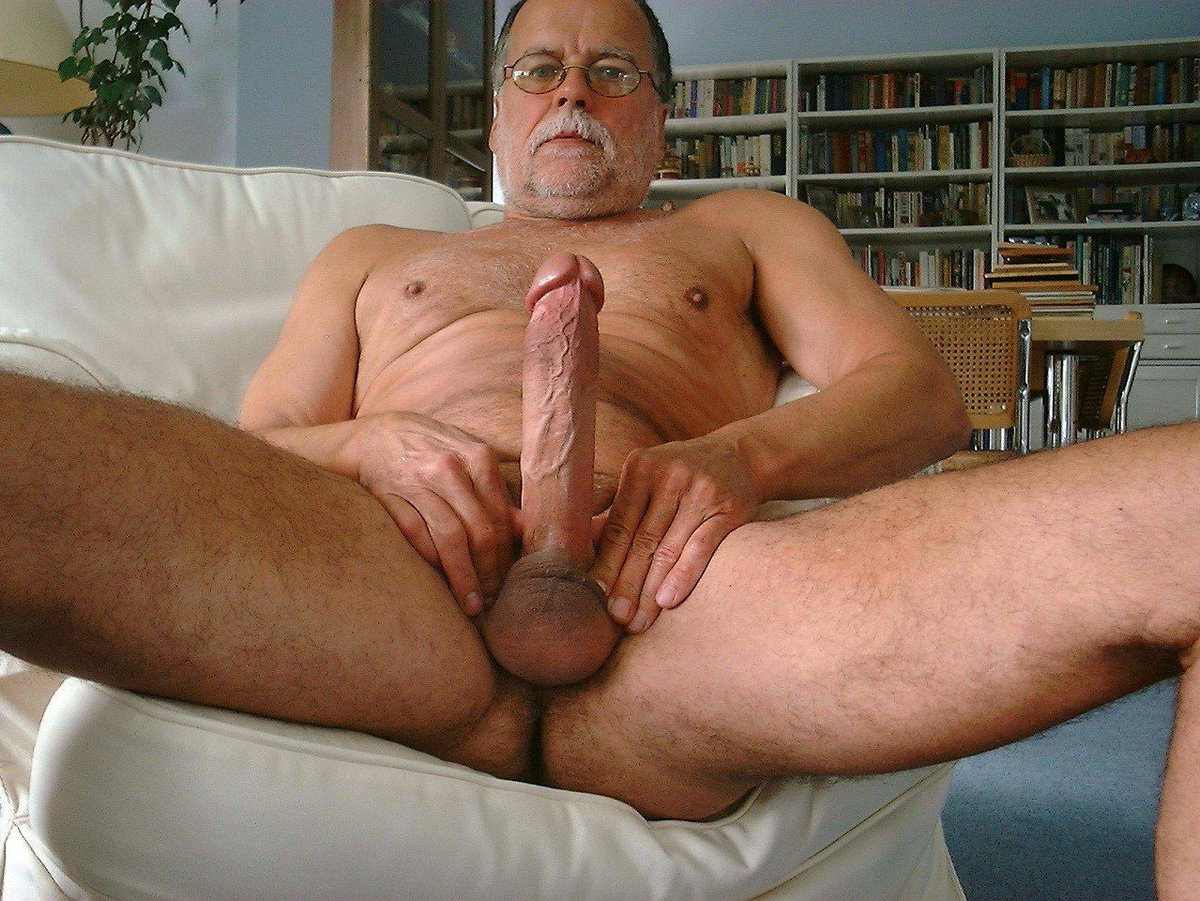 Naked old man with big penis
