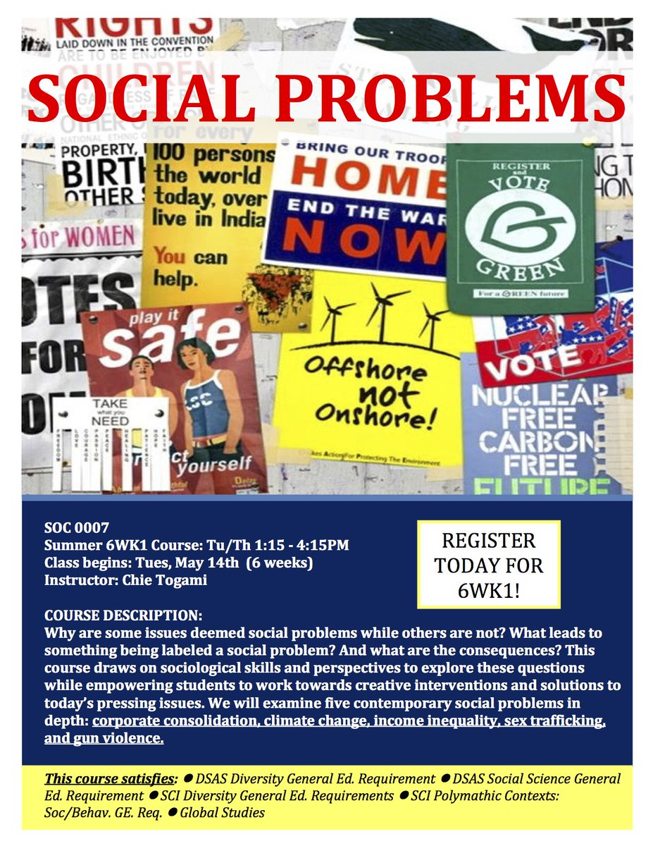 For students who want to take a sociology course this summer for credits -- look into this one taught by Ph.D. student, Chie Togami. #SocialProblems @PittTweet https://t.co/EuW21cKBhm