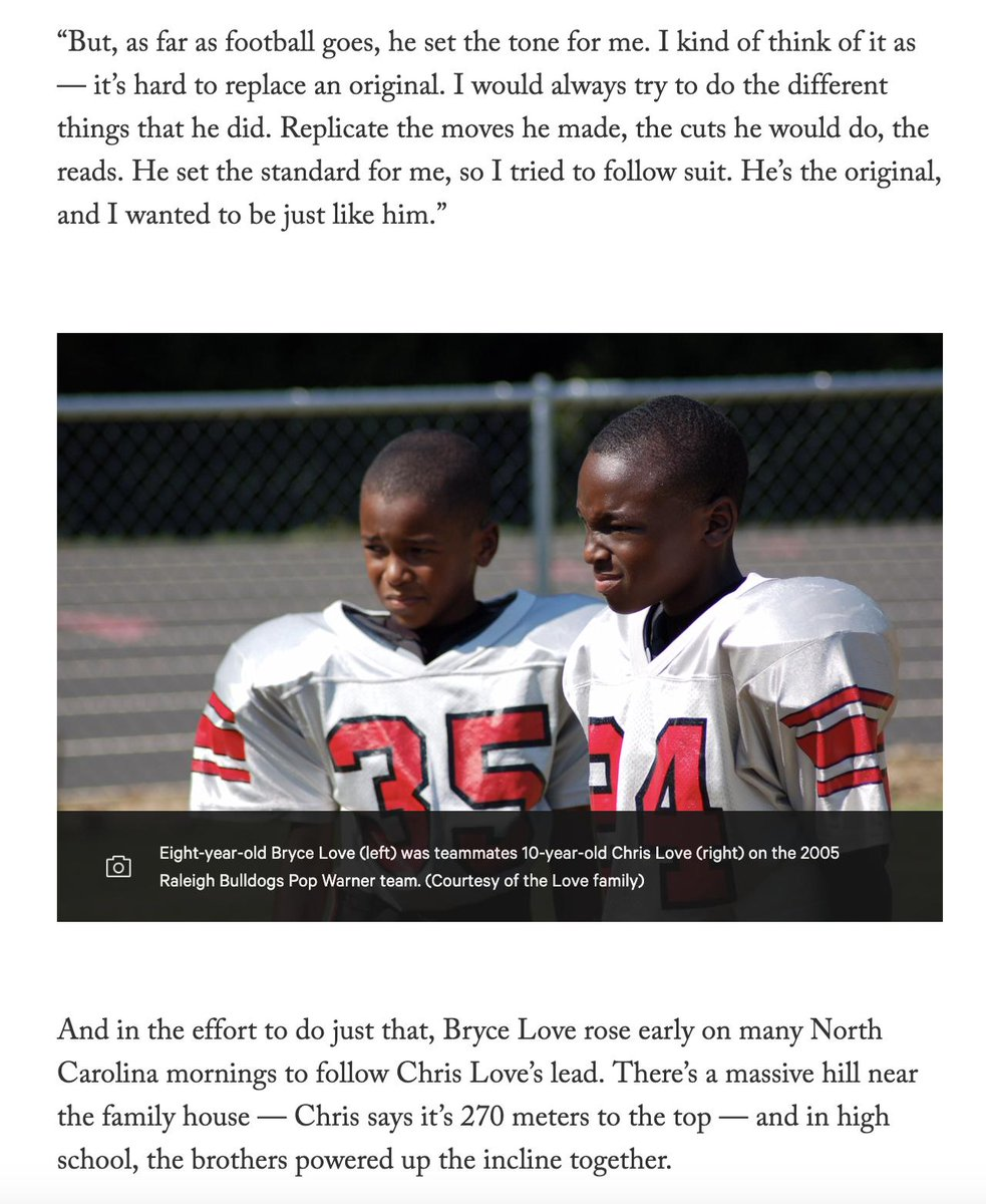 Bryce Love and Chris Love.   2 brothers. 2 best friends. 2 very fast football players simultaneously gunning for the NFL through adversity: Bryce from an ACL tear, Chris — who's working at IBM — from obscurity.  Read their story here: https://theathletic.com/922473/2019/04/16/nothing-can-break-you-as-his-acl-recovers-stanfords-bryce-love-opens-up-planning-to-return-faster-than-ever/…