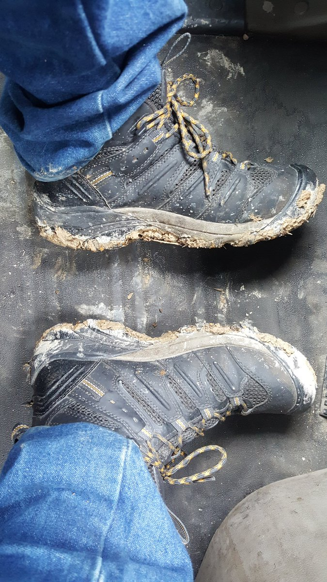 Muddy shoes caused by taking the road crew on a side trip at Echo Canyon in Utah