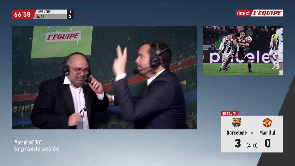 😱 L'Ajax Amsterdam en passe d'éliminer la Juventus Turin après le deuxième but signé De Ligt ! Et on perd @RaphaelSebaoun et @riouyoann dans cette histoire... #lequipeFOOT #JuveAjax