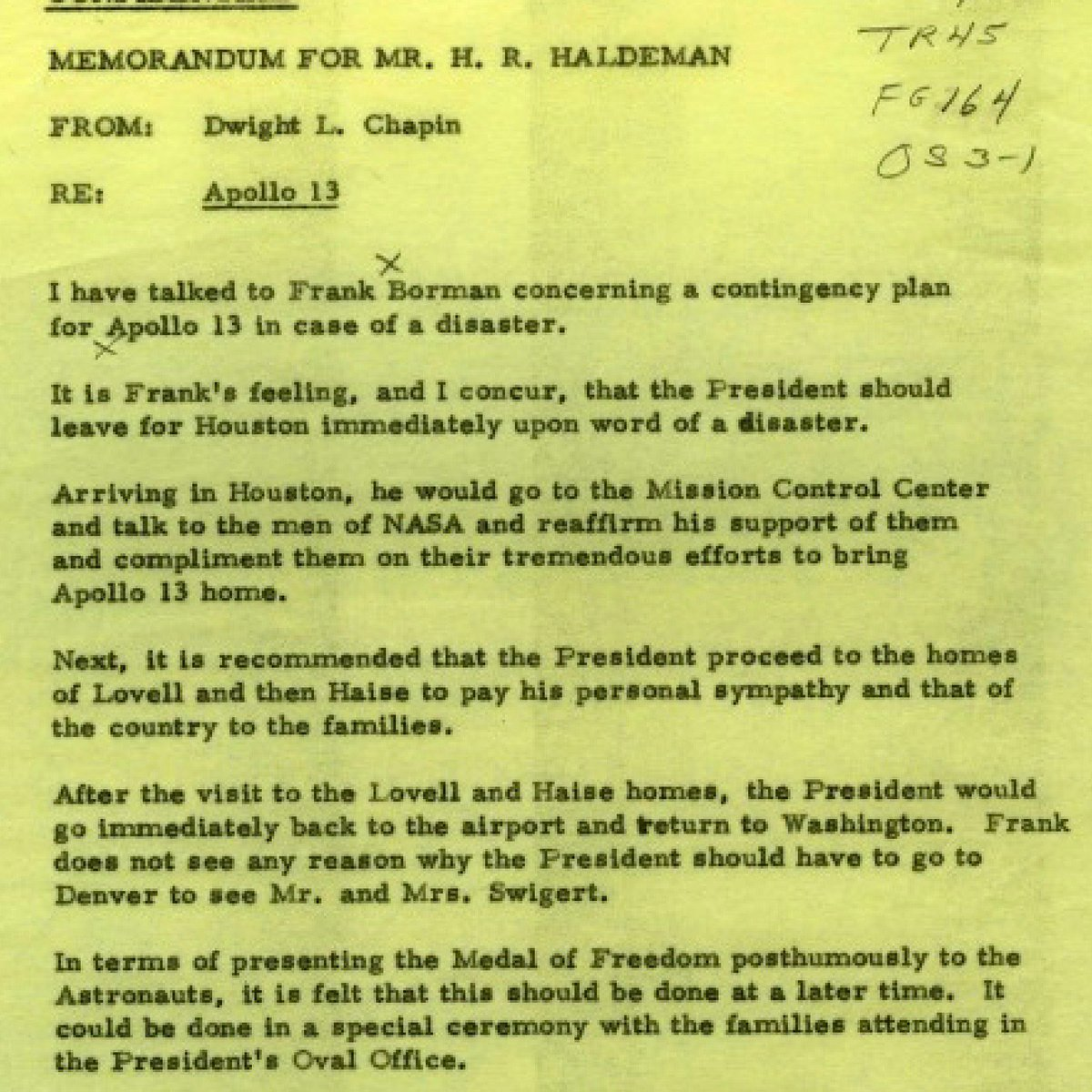 Here is Richard Nixon's secret plan for what he would do in case Apollo 13 ended in tragedy, this week 1970: