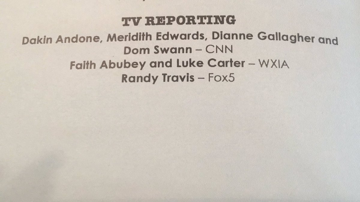 Honored to have been nominated for the Atlanta Press Club's Excellence in TV Reporting award. Congrats to @RandyTravisFox5! Good work. #GoodJournalismMatters