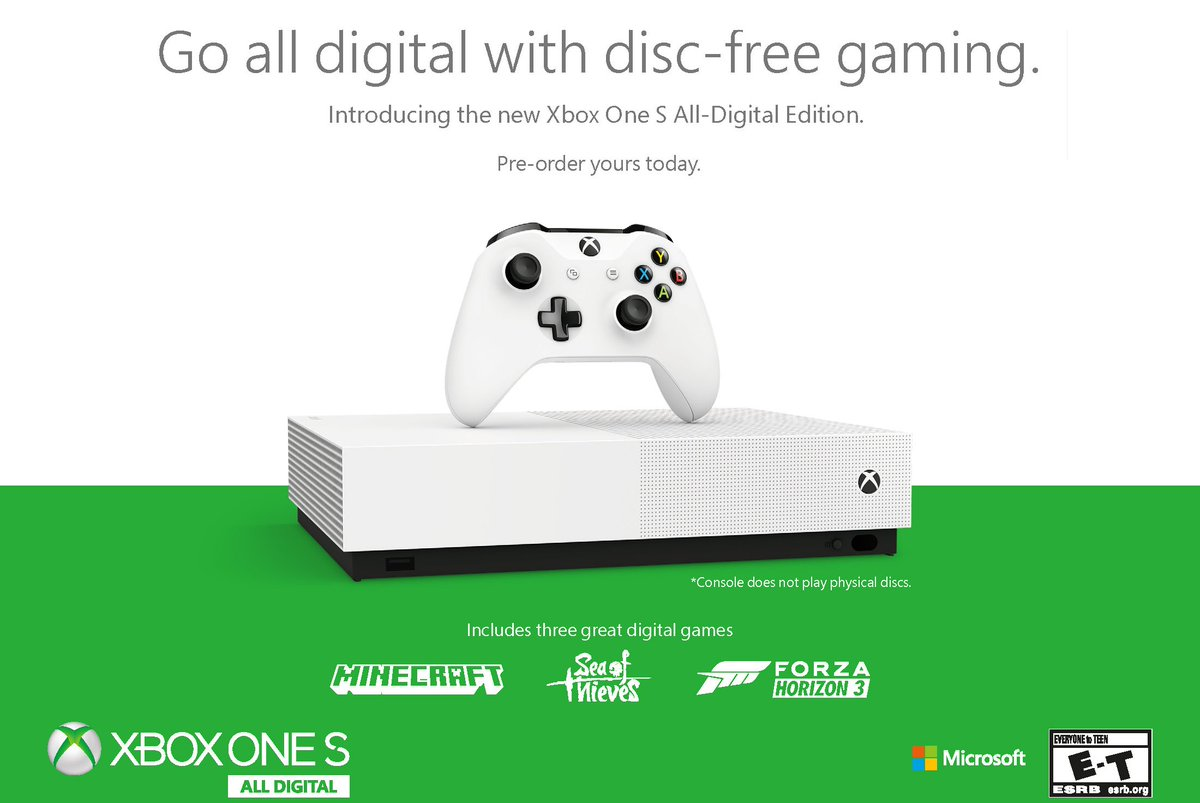 Microsoft unveils disc-less Xbox One S All-Digital Edition for $249