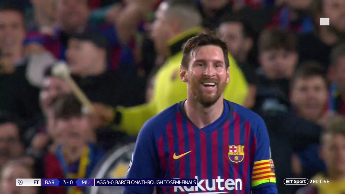"""""""One of the best live performances I've ever seen.""""  """"There will be Man Utd fans here, disappointed, but they can they saw Messi perform at this level.""""  Another Lionel Messi clinic has our team in awe 👏"""
