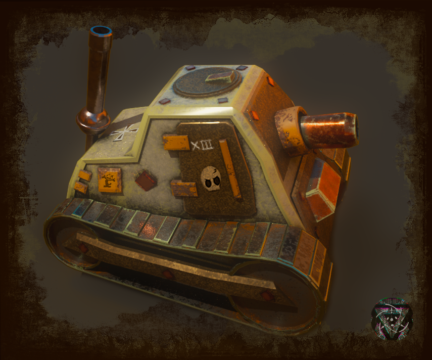My last Game-ready 3D model. A Steampunk tiny tank, hope you like it 🚂 #3D #3dmodel #gamedev #steampunk #tank #videogames #autodesk #maya #substance #render #indiedev #indiegame #gameready #asset #unity3d
