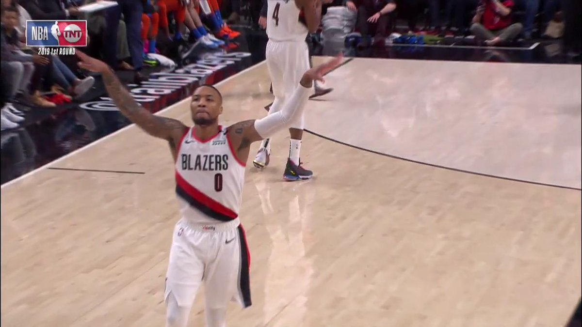 "🗣 ""Bombs away, baby!""  DAME is fired up in Game 2. 👀  #RipCity 