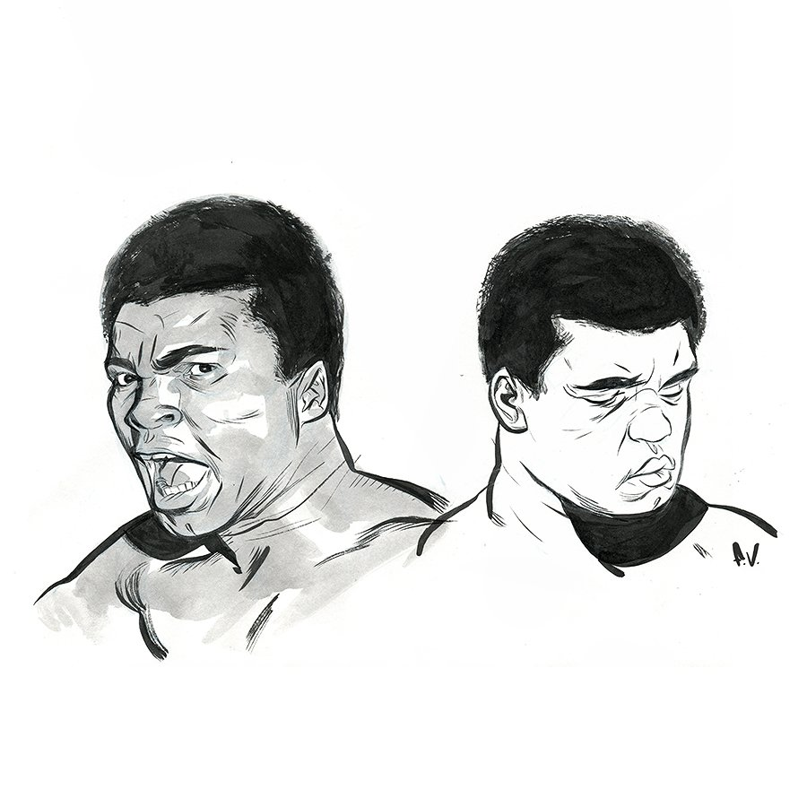 #artTUESDAY Seen here are some ink studies of The Champ! #Ali #MuhammadAli <br>http://pic.twitter.com/7jKEAbZJEF