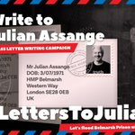 Remember to write your name and address on the back of your envelope otherwise your letter will not be delivered. Prisoner number is not required on the front, but Julian's date of birth needs to be included. #LettersToJulian #FreeAssange