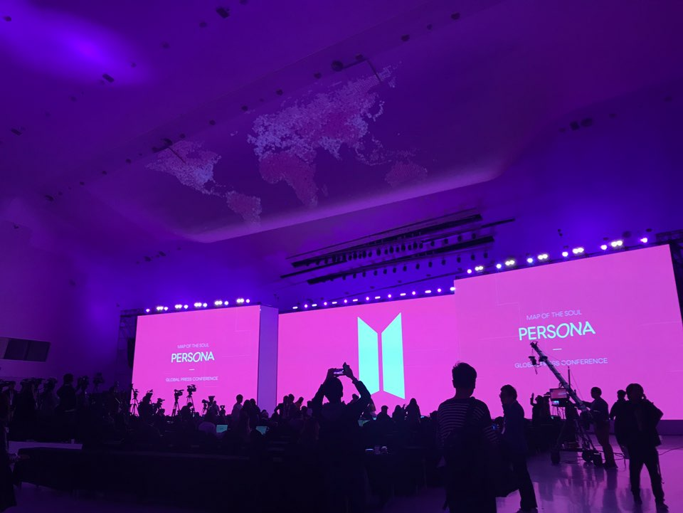 """#BTS' official press conference for their chart-topping new album """"Map of the Soul: Persona"""" will start soon. The venue DDP has been styled all in pink. Stay tuned for our live coverage @BTS_twt"""