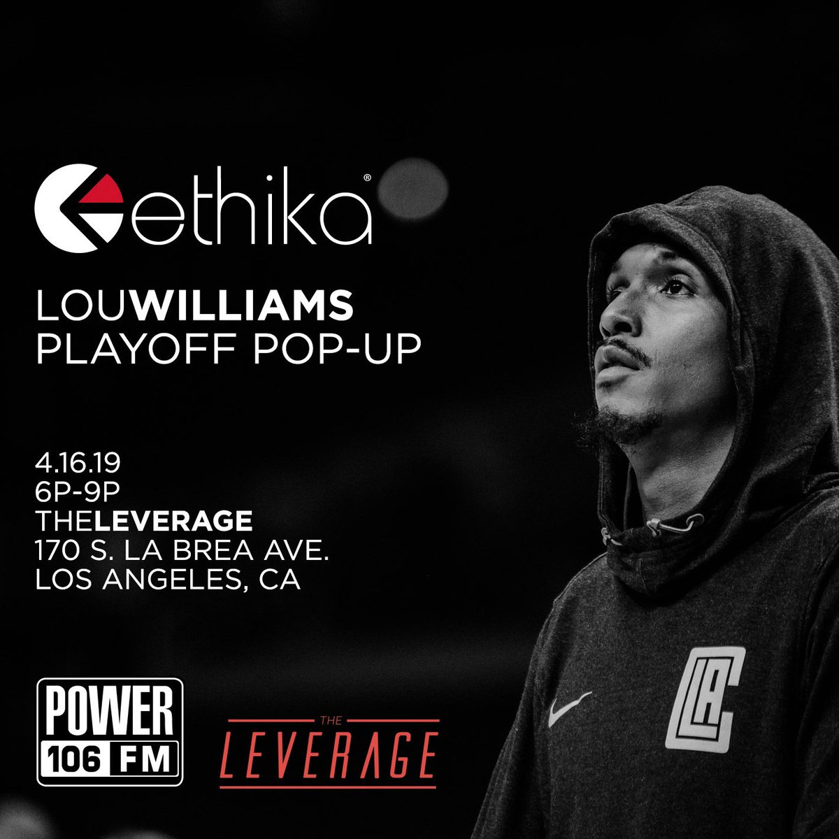 Pull up TONIGHT 6-9P‼️ @TeamLou23 at The Leverage LA for his #LilLou X @ethika @LAClippers #Playoff Merch pop up shop + Meet & greet! 🙌🏽