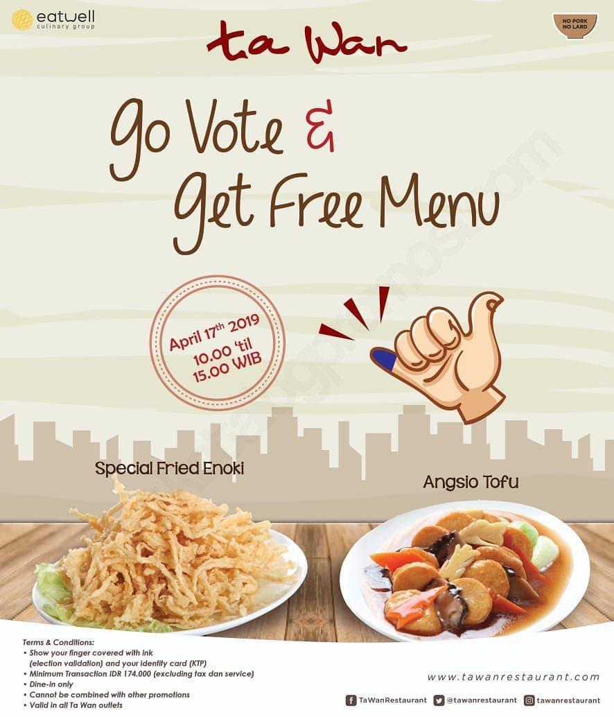 Ayo datang ke TPS karena suaramu penting untuk masa depan Indonesia. Abis itu banyak pilihan promo menantimu 😊 Part 3/4 #Pemilu2019 #promopemilu #SiapapunPresidennya https://t.co/jxY1vWxhZJ