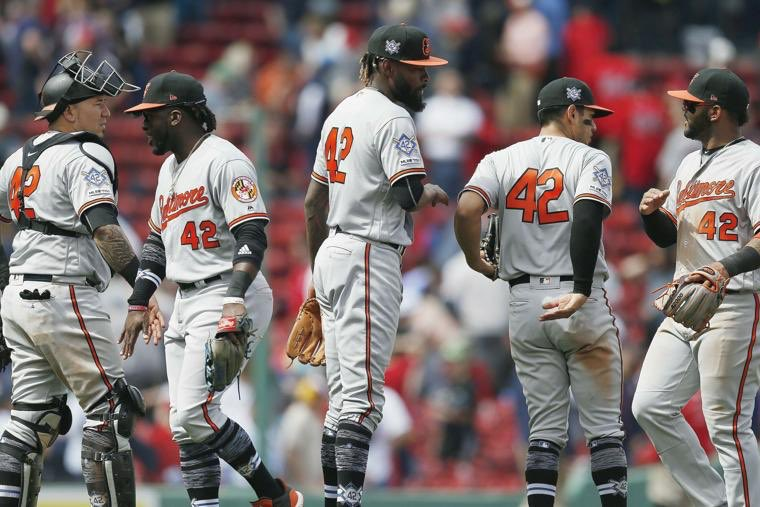 I love seeing the @orioles honor Jackie Robinson today- everyone wearing #42. He would have been 100 this year, and I'm sure amazed at how far we've come- but still have a long way to go.  #JackieRobinsonDay @MLB @nlbmprez<br>http://pic.twitter.com/bfWwrI8Cmo