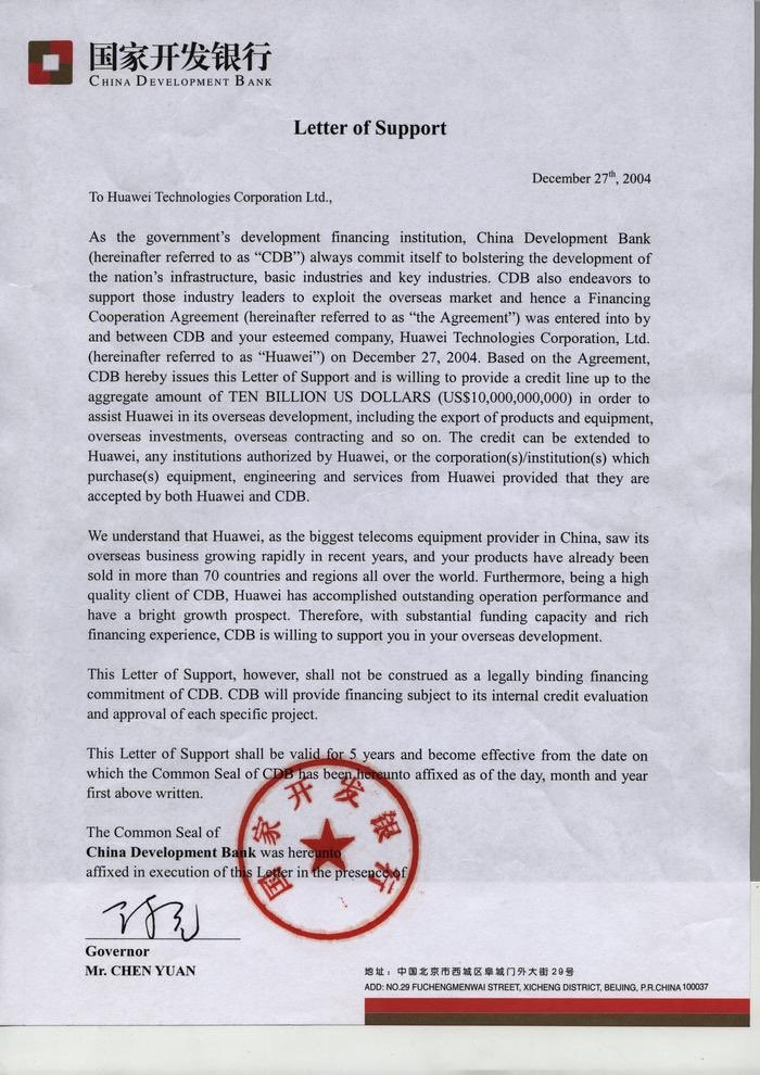 "Letter from CDB to Huawei for $10B of ""support"" to ""exploit"" overseas markets from 2004. Huawei did $2.2B in sales internationally in 2004. Surely the ccp had nothing to do with this. Just a private market financing transaction...nothing to see here. #china<br>http://pic.twitter.com/D7hBRTSGh4"