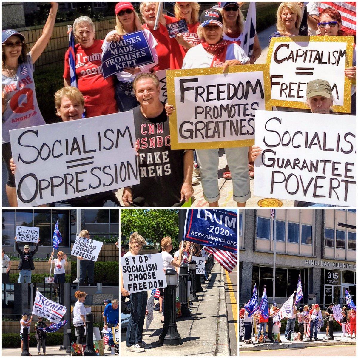 April 15-18 I had my Sign Waving CW Fla. Other #TeaParty Rallies going on all over  Message was #stopsocialism   #ChooseFreedom @TeaParty10 @jennybethm @PJMedia_com @realDonaldTrump @RealJamesWoods @charliekirk11 @mitchellvii @mayalates @GKeile @AlohaHa59067534 @DatoFreddy<br>http://pic.twitter.com/znGJyeFBk6