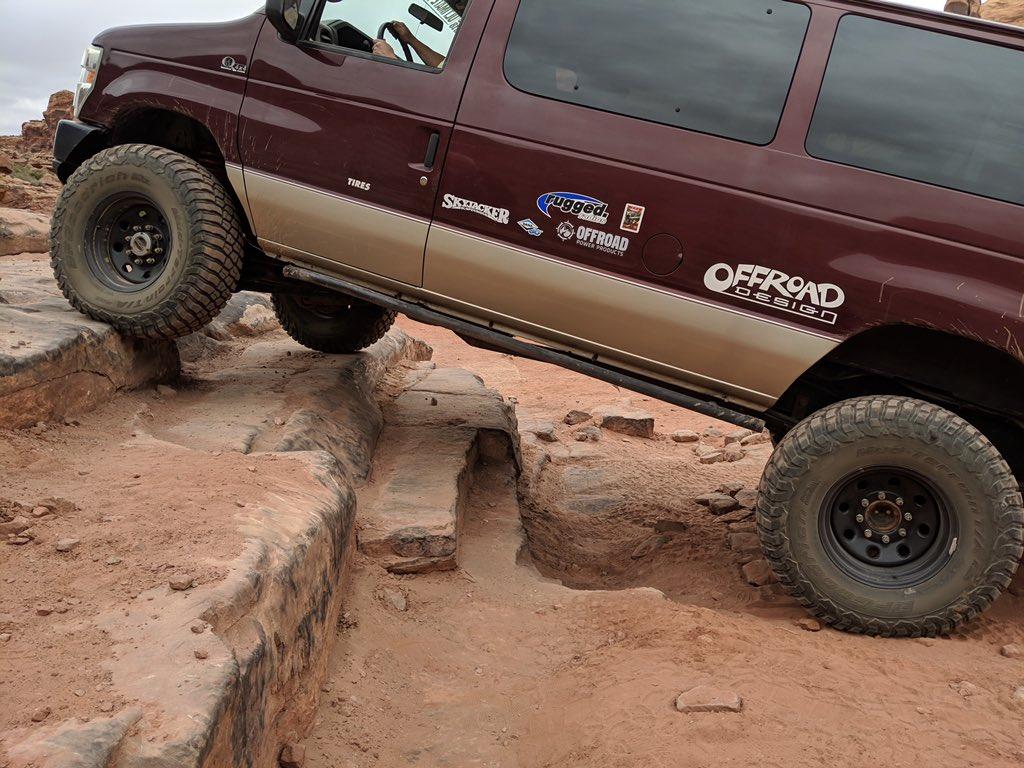 Off-road van fun at Moab courtesy of @Quigley4x4 #BuiltonBFG #KM3 #easterjeepsafari #vanlife #jeepsafari #jeeplife #utah #offroad<br>http://pic.twitter.com/TA4f1BlOQA